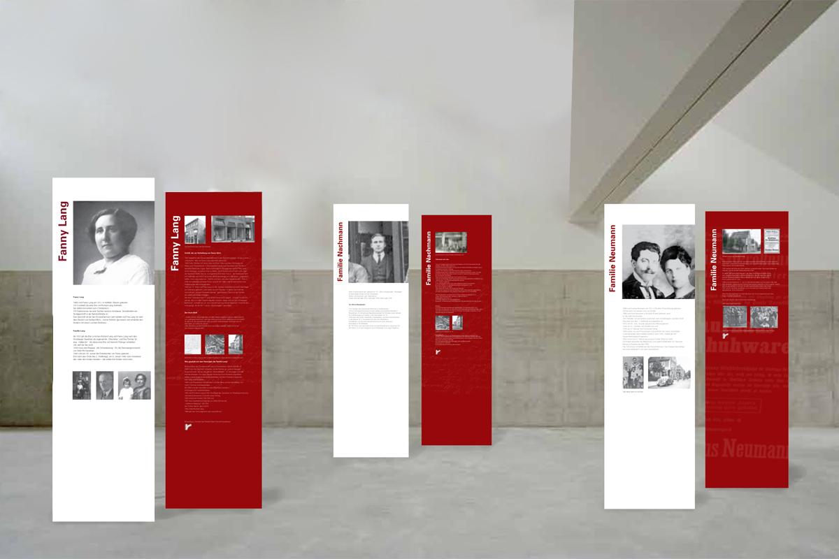 """Ausstellungsdesign, Banner zum Thema """"Legalisierter Raub in Rüsselsheim"""""""